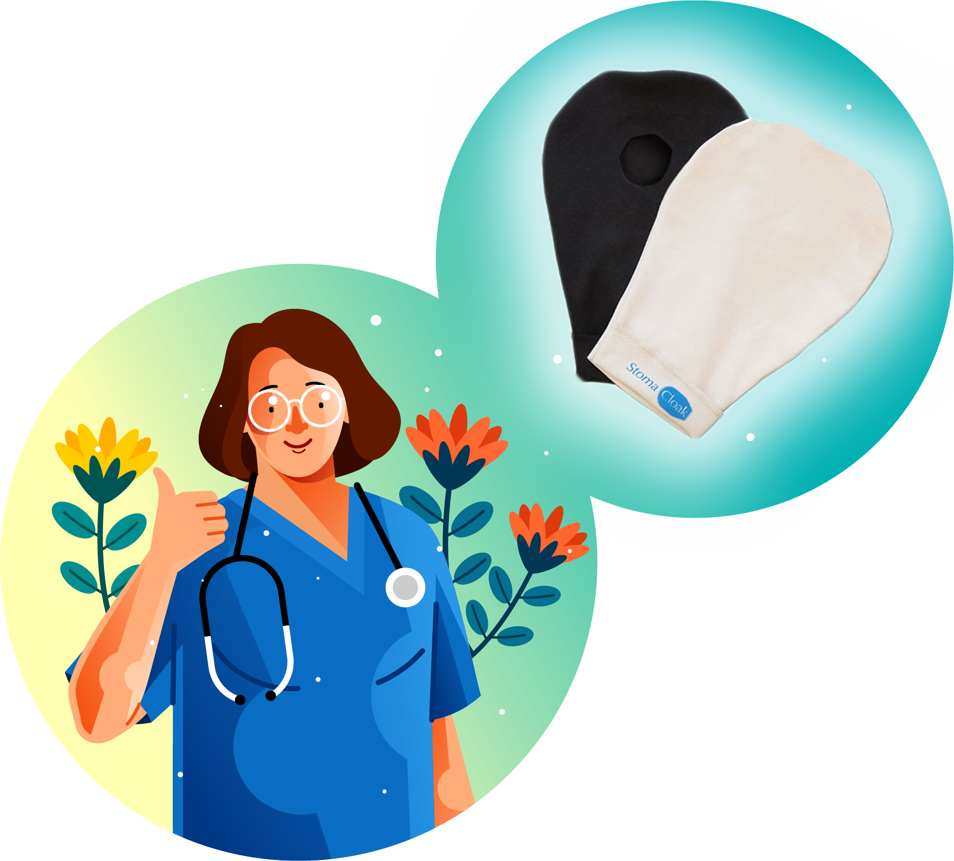 Illustration of nurse and Stomacloak ostomy bag cover